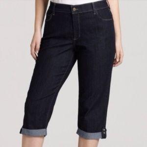 NYDJ Dark Rinse Crop Jeans Rhinestone Tab